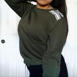 Victoria Secret Pink Navy Green Crewneck Sweater